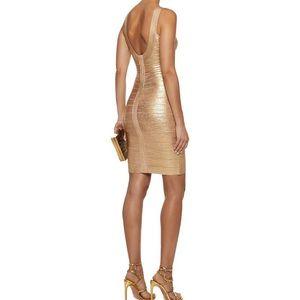 herve leger • NEW • gold mini bandage dress